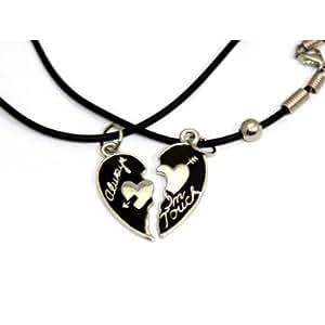 """Collier d'amitié avec pendentif en forme de coeur et inscription """" always in touch"""", 2 colliers et 2 pendentifs! Pour amoureux ou meilleurs amis"""