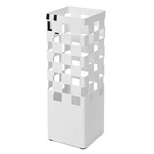 SONGMICS Paragüero de metal con bandeja de goteo y ganchos para el hogar y la oficina Blanco LUC51W