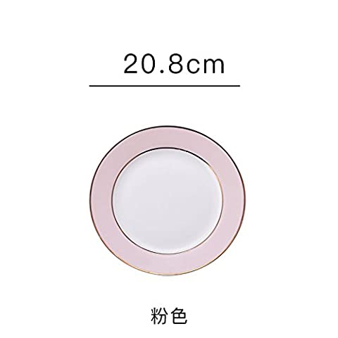 Ceramic plate plate plate bone steak creative center plate dessert dishes Western-style food inventory,Pink disk 8 inches