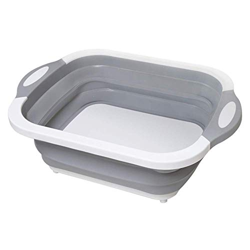 Tutyuity Multifunktions-Abflusskorb, Zusammenklappbares Schneidebrett, tragbare Wanne für Küche, Camping, Picknick Camping Küche