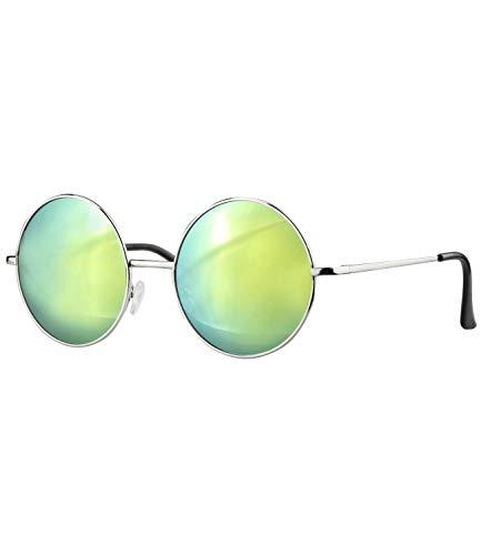 Caripe Lennon Retro Vintage Sonnenbrille Metall Damen Herren rund Nickelbrille (2059 - Silber - neon verspiegelt)