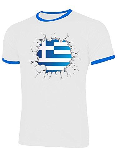 Golebros Griechenland 5710 Herren Ringer T-Shirt (HR=Weiss/Blau) Gr. XXL