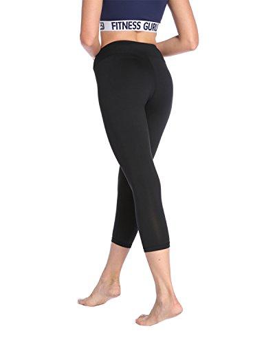 X-HERR Leggings Yoga Palestra Donna - Pantaloni Capri tagliati 3/4 Fitness Sportivi Nero