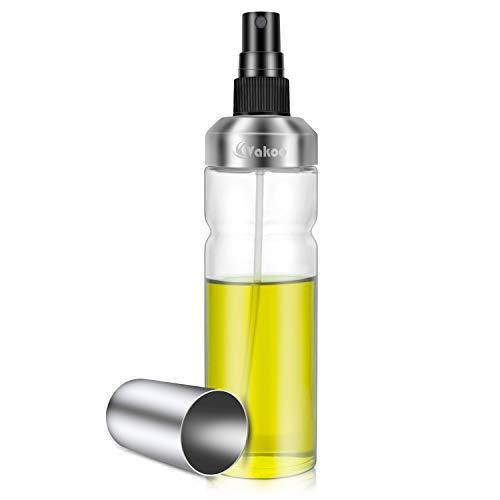 Vakoo Öl Sprüher, Flasche Öl Zerstäuber aus Edelstahl und Glas, Oil Sprayer für BBQ, Kochen, Grillen (180ml)