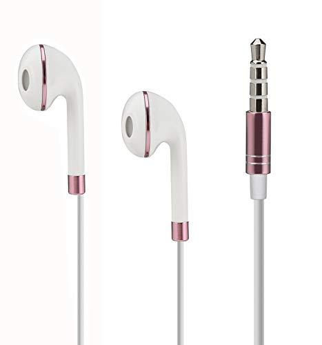 VAPIAO [Kopfhörer kompatibel mit Allen Smartphones, iPhones, iPads, Tablets mit Lautstärkeregelung in Rosé Rosa und toller schwarzer Nylon Schutztasche
