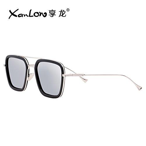 Komny Der Sonnenbrille Frauen Style Sonnenbrille Frauen Augen rundes Gesicht groß Weiblich tide Star mit der gleichen Art von Sonnenbrille Black Frame Quecksilber