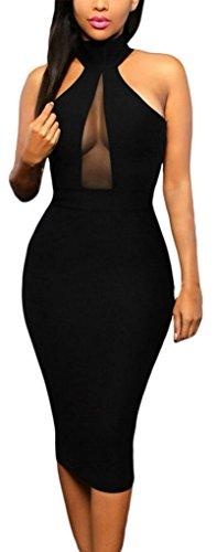 La Vogue Moulant Robe Midi Épaule Nue Bodycon Soirée Uni Col Haut Sans Manche Noir