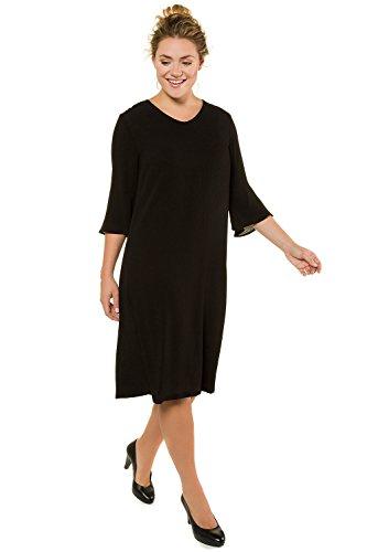 oße Größen bis 62+ | Kleid aus Krepp | Volant am 3/4-Ärmel | Gerundeter V-Ausschnitt | Leichte A-Line | schwarz 44 716293 10-44 (Klassisches Kleid Bis)
