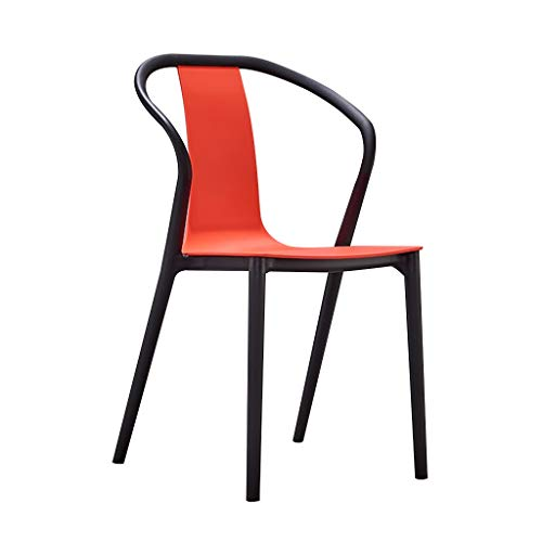 Kunststoff Gartenstühle, einfache Lounge Stuhl Cafe Restaurant Tür Shop Esstisch Stuhl Hocker Bar Stuhl Stuhl Home Dining Stuhl Moderne minimalistische (Color : Red) -