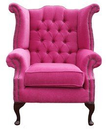 Chesterfield Queen Anne Ohrensessel, Pink