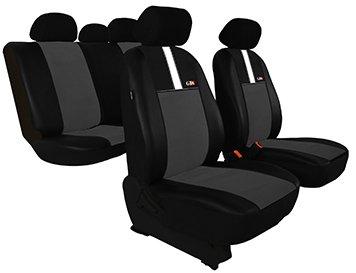 Housse de siège de voiture universelles GT8 (ECO-CUIR + ALKANTARA ) (Gris foncé)