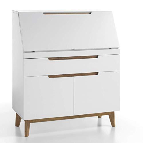 Riess Ambiente Design Sekretär Cervo Original MCA matt weiß Absetzungen Eiche Schreibtisch Büro Schrank