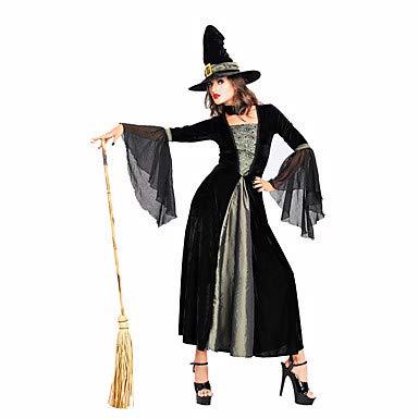 Kostüm Hexe Spitzen - HAOBAO Zauberer/Hexe Fest/Feiertage Halloween Kostüme einfarbig Spitze Kleid Halloween Weihnachten Karneval Kindertag Silvester Oktoberfest Frau