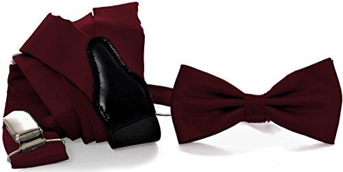 ADAMANT® Designer Hosenträger Set mit Fliege Dunkelrot | Verschiedene Farben | Geschenkbox im Lieferumfang enthalten | (Fliege Seide Linie)