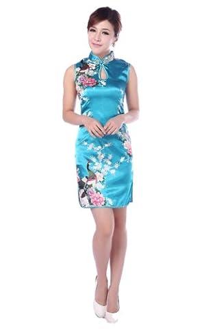 JTC Femme Cheongsam Qipao Robe Courte Chinois Motif de Paon