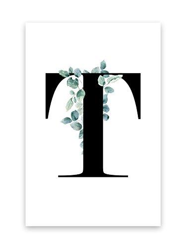 Kunstdruck Poster Bild Druck Motiv:Buchstabe T Ranken Blätter Design 30x40cm (Bilder Von Einem T)
