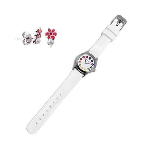 Set Agatha Ruiz de la Prada Agr253 White Girl Clock Silber-Ohrringe Emaille-Blumen-Perlen-Act 925m - Modell: Agr253
