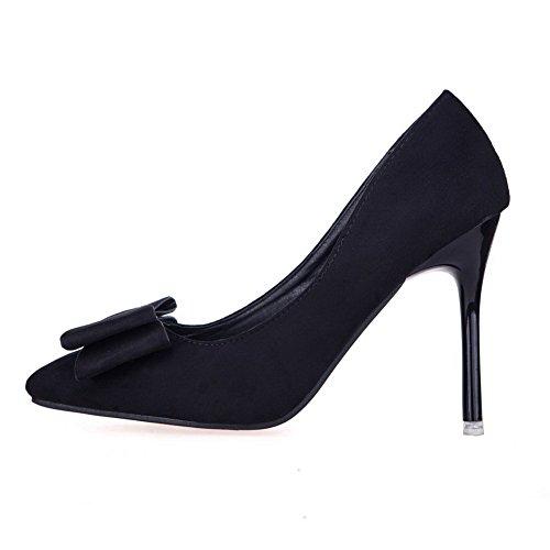 AalarDom Femme Suédé Dépolissement à Talon Haut Fermeture D'Orteil Chaussures Légeres Noir-Pièce Décorée
