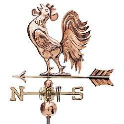Kupferwetterhahn mit buschigen Schwanzfedern aus poliertem Kupfer, Motivgröße: 62 x 52 cm, zusätlich mit Windrose (Buchstabenhöhe 8,5 cm) und 2 Kupferkugeln