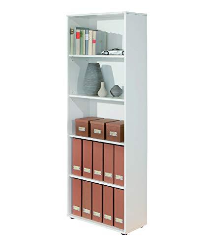 Esidra Libreria 5 Ripiani-Bianco, 60 x 180 x 30 cm