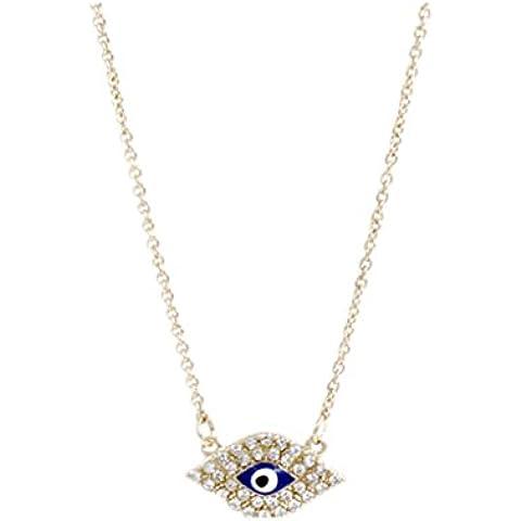 Blu Male Hamsa Occhio D'argento Collana Di Fascino Del Pendente Di Cristallo Catena D'oro Della