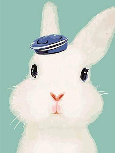 WOWDECOR DIY Malen nach Zahlen für Erwachsene Kinder Mädchen, Kaninchen Weiß Blauer Hut 40x50cm Vorgedruckt Leinwand-Ölgemälde (mit Rahmen) (Erwachsene Weiße Kaninchen Hut)