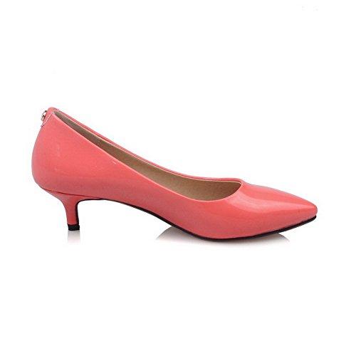 VogueZone009 Femme Pointu Tire Couleur Unie à Talon Correct Chaussures Légeres Rouge de Pastèque