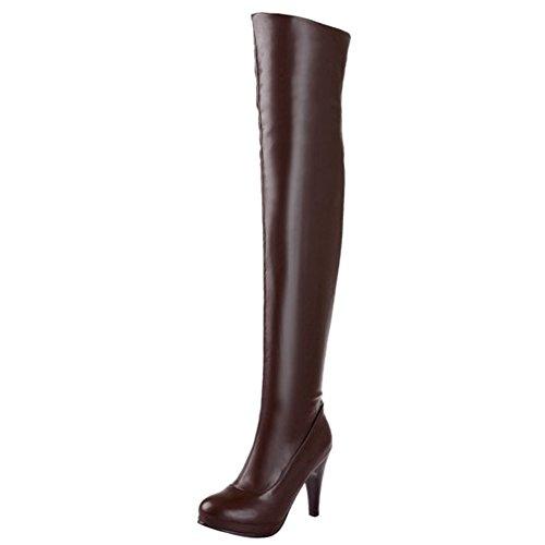 Damen Over-Knee Stiefel Stiletto Rund Reißverschluss Plattform Sexy Klub Plateau High Heels Warm gefüttert Braun