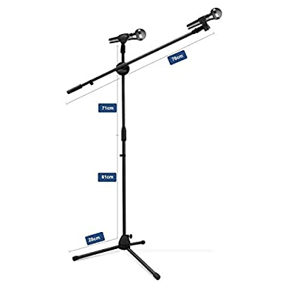 Ohuhu Tripod Boom Microphone Stand with Dual Mic Clip, Collapsible Tripod Boom Stand, Ultra-light for Easy Transport, Black