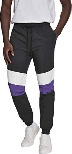 Urban Classics Herren Hose 3-Tone Crinkle Track Pants Blk/Wht/Ultraviolet Größe: L -