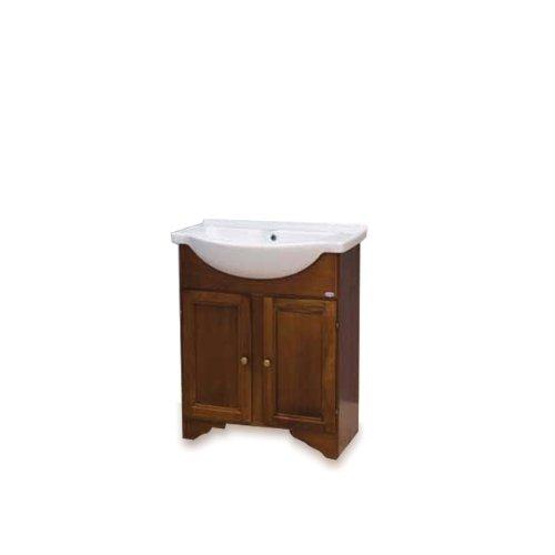 Mobile da bagno classico in legno con lavabo arte povera