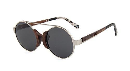 Naturjuwel Holz Sonnenbrille Herren Damen silber polarisiert Holzbrille Panther Design Brille inklusive Brillenbeutel