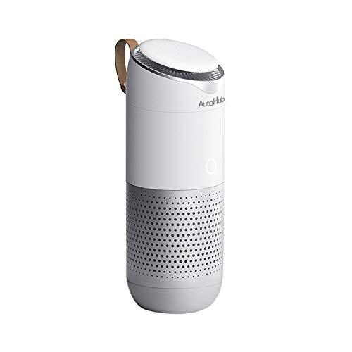 AutoHub tech Luftreiniger, True HEPA Filter Functional Mehrzweck-Luftfilter Entfernen von Rauch Staubgeruch Geruch Zuhause Büro Auto - Weiß - Entfernen Rauch Luftreiniger
