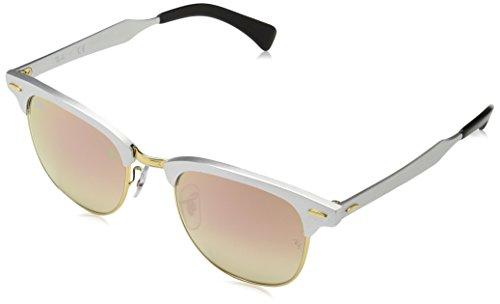Ray-Ban Unisex-Erwachsene Sonnenbrille Clubmaster Aluminium Mehrfarbig (Gestell: Silber,Gläser: kupferverlauf 137/7O), Medium (Herstellergröße: 51)