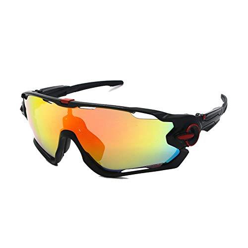 Chengleilei Outdoor Radfahren Brille, Sandstrahlen Motorrad Brillen Sonnenbrillen (Farbe : Black+red Label)
