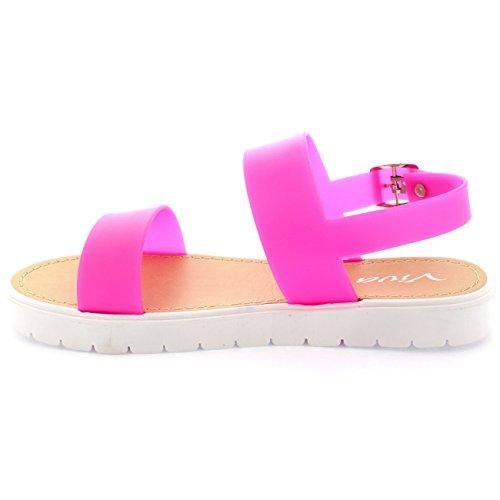 Damen Gelee Offene Spitze Stollenschuhe Weiß Sohle Flatform Sandale Rosa