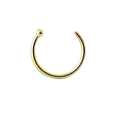 14K Solid Gelb Gold 22-g - 6MM Durchmesser Ball Ende offen Hoop Nase Piercing Ring Schmuck (Gold Ringe Schmuck 14k)