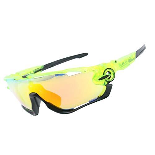 Sportsonnenbrille Wechselgläser Sportbrille Im Sommer Damen Herren Wind Reiten Brille Vier Linsen Windschutzscheibe Windschutzscheibe Grün Schwarz Frame+4 Gläser Kit