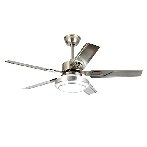 WHYIN Ceiling Fan Light Dimmable Reverse 5 Blades Rotation Stainless Steel  LED Ceiling Fan Light Indoor