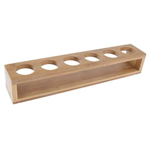 gazechimp 6 Loch Bambus Holz Schnapsglas Halter Rack Wein Whiskey Cup Carrier Tray -
