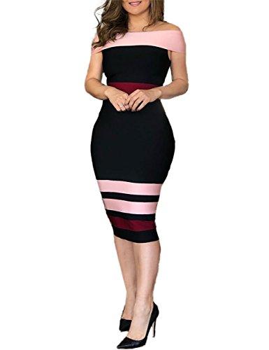CHICME BEST SHOPPING DEALS Damen Kontrast Streifen Schulterfrei Bodycon Midi Kleid Schwarz L (Kontrast Bodycon Kleid)