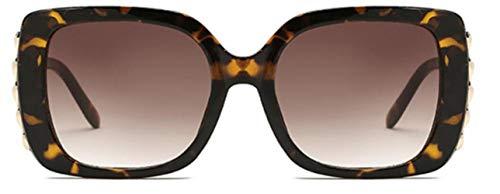 HUWAIYUNDONG Sonnenbrillen, Square Sunglasses Design Fashion Big Frame Glasses Female Leopard Tea