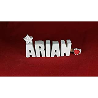 Beton, Steinguss Buchstaben 3D Deko Namen ARIAN mit Stern und Herzklammer als Geschenk verpackt! Ein ausgefallenes Geschenk zur Geburt, Taufe, Geburtstag, Namenstag oder auch zu anderen Anlässen.