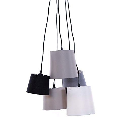 DESIGN DELIGHTS Éclairage de Plafond « Bouquette » Multicolore, 165 cm, métal, Lin, 5 Ampoules essorage de Plafond