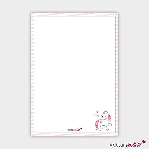 Detailverliebt! DIN A4 Schreibblock Motiv Einhorn mit 50 Blatt, dv_100 – Für alle großen und kleinen Mädchen, die Einhörner lieben! Notizblock, Block, Schreibblock, Motivpapier, Einhorn (DIN A4)