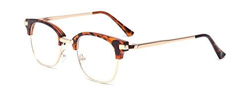 ALWAYSUV Retro Klare PC Linse Metall Bügel Halb Rahmen Unisex Streberbrille Brillenfassung (Kleidung Und Accessoires)