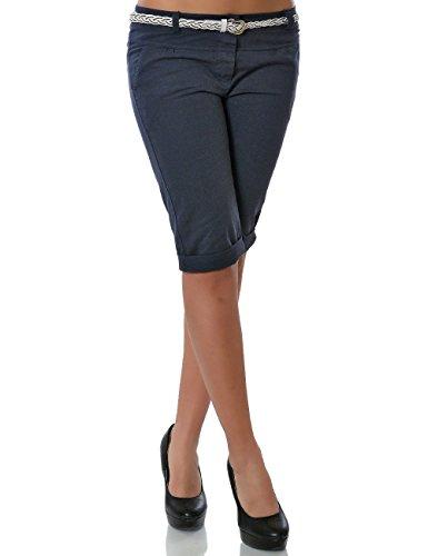 Damen Chino Capri Hose inkl. Gürtel (weitere Farben) No 13934, Farbe:Navy;Größe:42 / XL