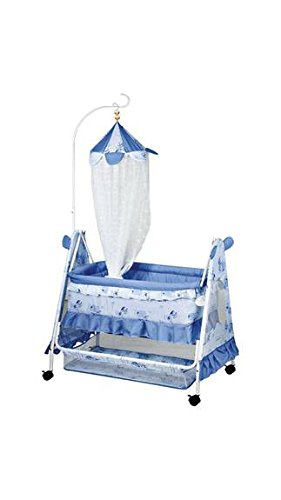 Royal Blue Crib with Swing ( Baby jhula ) Mosquito Net and Multiple Function.