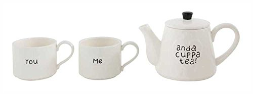 You Me und eine Tasse Tee Tee weiß Steingut Teekanne und Tassen, 3-teiliges Set
