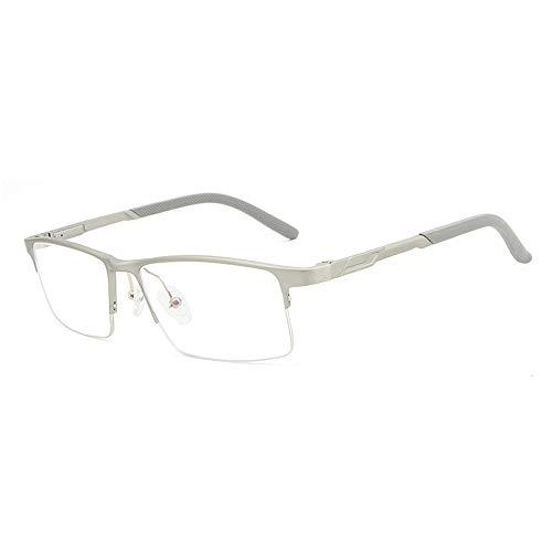 Men Fashion Classic Sport Half Frame Unbreakble Al-Mg ultraleichten Brillengestell für Brille (Color : Silber, Size : Kostenlos)